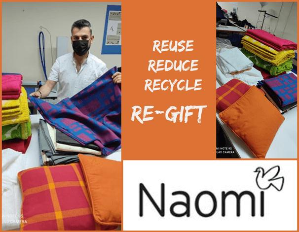 Η Δωρεά σε είδη, όπως υφάσματα, σεντόνια, μαξιλάρια στο εργαστήριο τις NAOMI Workshop Thessaloniki αποτελούν δώρο για την κάλυψη βασικών αναγκών.